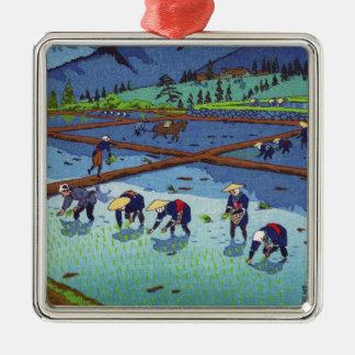 Shiro Kasamatsu Rice Planting shin hanga scenery Silver-Colored Square Decoration