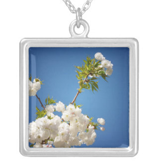 Shirotae Mt. Fuji Cherry Blossoms Reaching Skyward Square Pendant Necklace