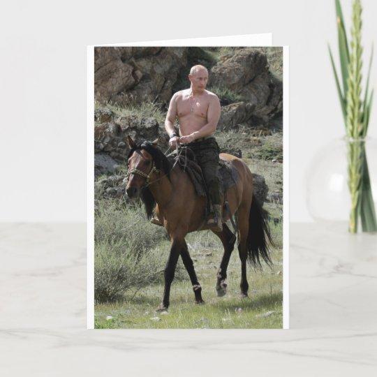 Shirtless Putin Rides A Horse Card Zazzle Co Uk