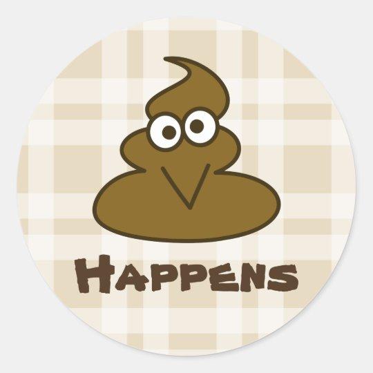 Shit Happens Funny Poop Poo Emoji Cartoon Round Sticker