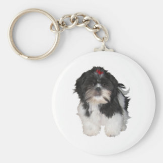 Shitzu Shih Tzu Puppy Dogs Basic Round Button Key Ring