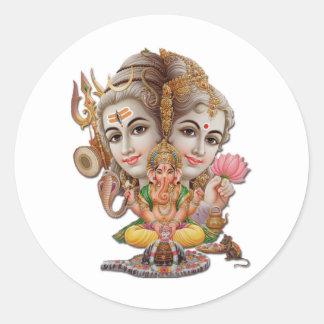 Shiva and family classic round sticker