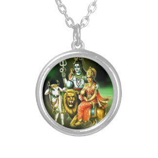 SHIVA AND PARVATHI SILVER PLATED NECKLACE