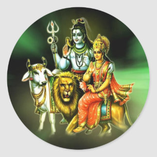 SHIVA AND PARVATHI ROUND STICKERS