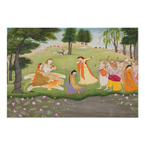 Shiva and Parvati Miniature Painting Posters
