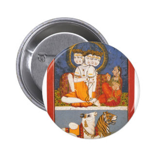 """Shiva and the """"Holy Family"""" 6 Cm Round Badge"""