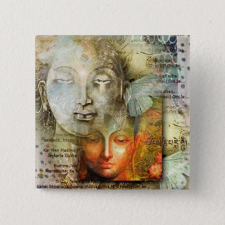 Shiva & Buddha 15 Cm Square Badge