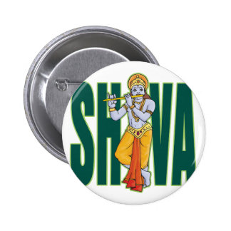 Shiva playing Flute 6 Cm Round Badge