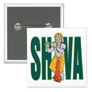 Shiva playing Flute 15 Cm Square Badge
