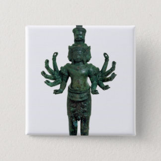 Shiva with many arms and heads, Angkor 15 Cm Square Badge