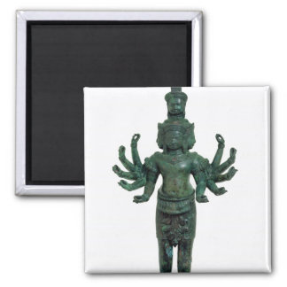 Shiva with many arms and heads, Angkor Square Magnet