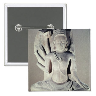 Shiva with ten arms, from Thap Banh It Temple, 15 Cm Square Badge