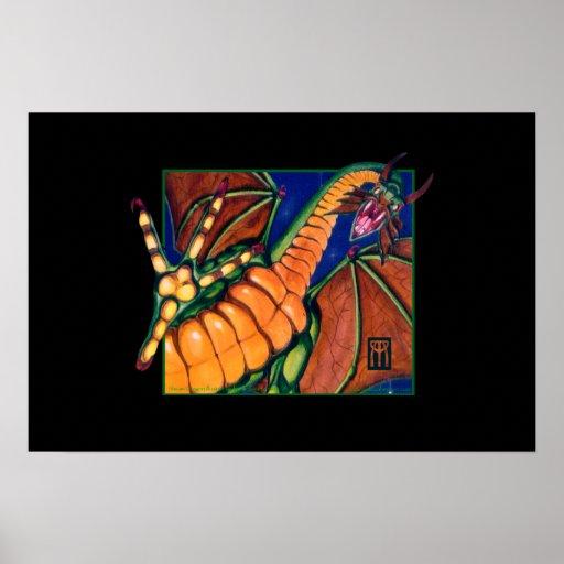 Shivan Dragon print on black