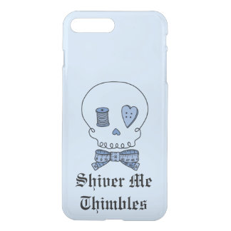 Shiver Me Thimbles - Sewing Skull (Blue #2) iPhone 7 Plus Case