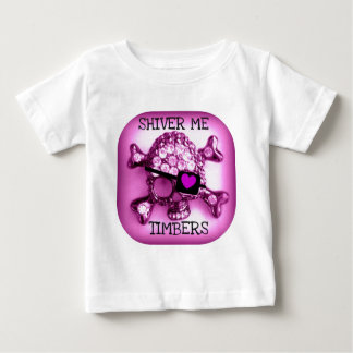 SHIVER ME TIMBERS SKULLY PIRATE PINK PRINT BABY T-Shirt