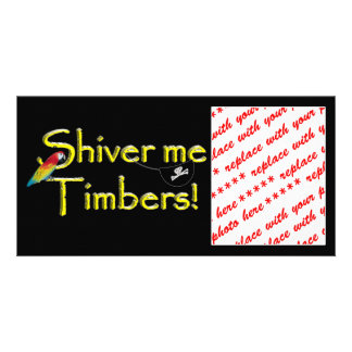 SHIVER ME TIMBERS - Text w Pirate Chest Custom Photo Card