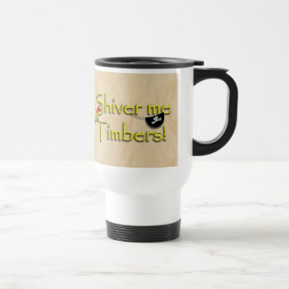 SHIVER ME TIMBERS! Text with Parrot & Eye Patch Stainless Steel Travel Mug