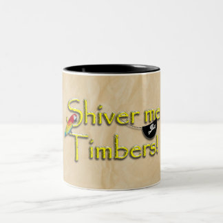 SHIVER ME TIMBERS! Text with Parrot & Eye Patch Two-Tone Mug
