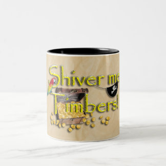 SHIVER ME TIMBERS! Text with Pirate Chest Two-Tone Mug