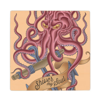 Shiver My Soul | Octopus Tatto Wood Coaster