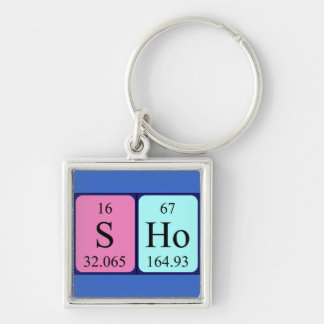 Sho periodic table name keyring Silver-Colored square key ring