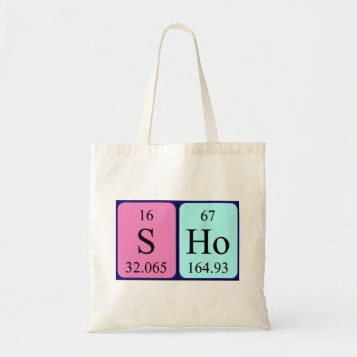 Sho periodic table name tote bag