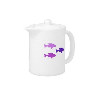 Shoal of purple fish Teapot