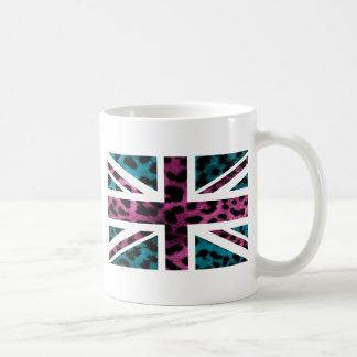 Shock Pink Leopard Pattern Jack British(UK) Flag Basic White Mug