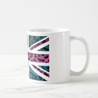 Shock Pink Leopard Pattern Jack British(UK) Flag Mug