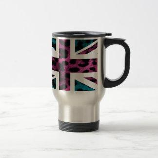 Shock Pink Leopard Pattern Jack British(UK) Flag Stainless Steel Travel Mug