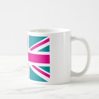 Shock Pink Union Jack British(UK) Flag Basic White Mug