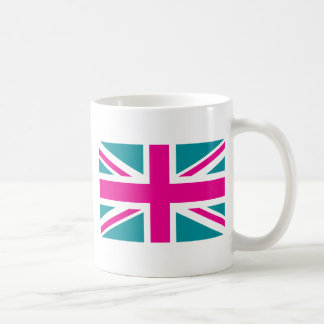 Shock Pink Union Jack British(UK) Flag Coffee Mugs
