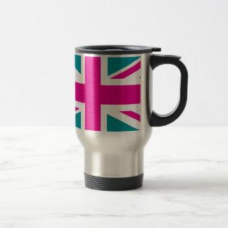 Shock Pink Union Jack British(UK) Flag Stainless Steel Travel Mug