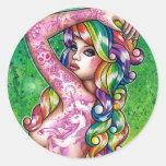 Shock Tart Rainbow Pin Up Girl Round Stickers