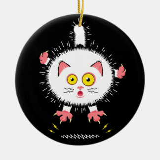 Shocked Cute Cat Christmas Ornament