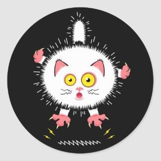Shocked Cute Cat Classic Round Sticker