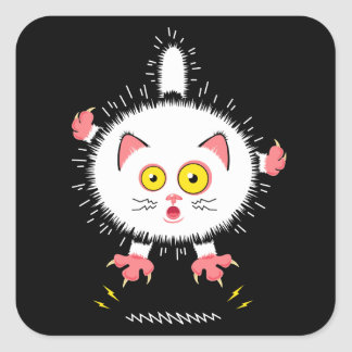 Shocked Cute Cat Square Sticker