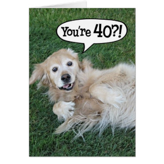 Shocked Golden Retriever 40th Birthday Card