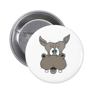 shocked hippo face 6 cm round badge