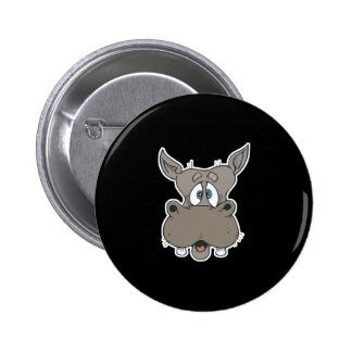 shocked hippo face 6 cm round badge