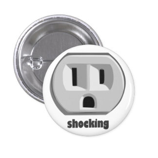 Shocking Electricity Wall Outlet 3 Cm Round Badge