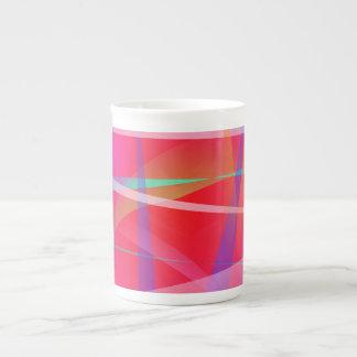 Shocking Pink Abstract Art Bone China Mugs
