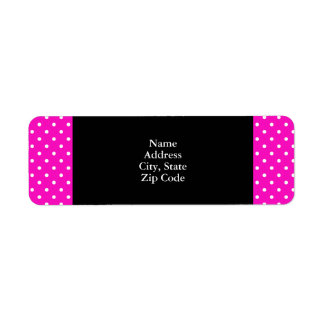 Shocking Pink and White Polka Dot Pattern Return Address Label