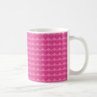 Shocking Pink Heart Background Basic White Mug