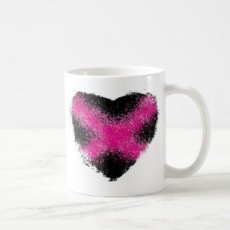 Shocking pink on black glitter dots heart cross basic white mug