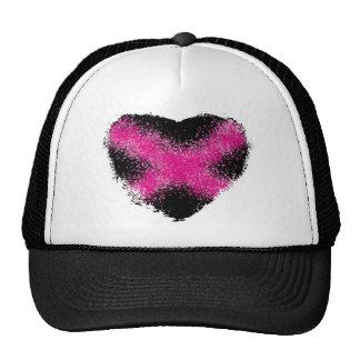 Shocking pink on black glitter dots heart cross cap