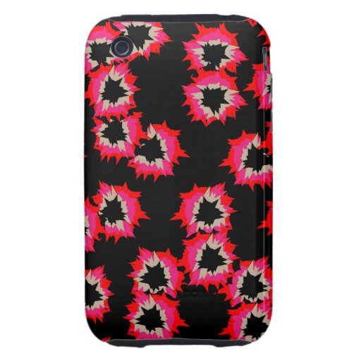 Shocking Pink Orange Mix Abstract Color Burst Tough iPhone 3 Covers