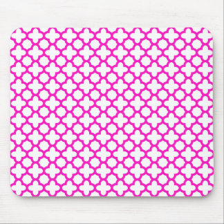 Shocking Pink Quatrefoil Pattern Mouse Mat