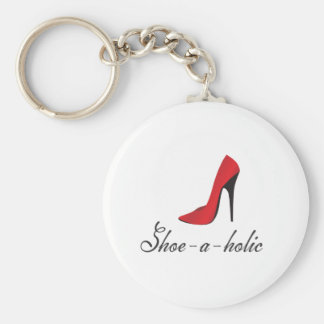 Shoe-a-holic Basic Round Button Key Ring