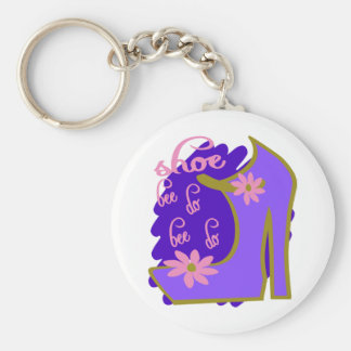 Shoe Bee Do Bee Do With Shoe And Jagged Background Basic Round Button Key Ring